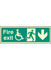 Fire Exit (Running Man, Disabled Symbol, Arrow Down)