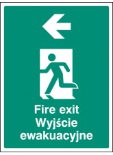 Fire Exit Arrow Left (English/polish)