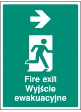 Fire Exit Arrow Right (English/polish)