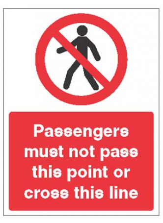 Passengers must not pass this point or cross this line