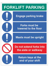 Forklift Parking Engage brakes, lower forks, return keys…