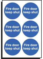6 x Fire Door Keep Shut Labels - 65mm Diameter