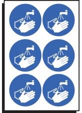 6 x Wash Hands Symbol Labels - 65mm Diameter