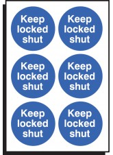 6 x Keep Locked Shut Labels - 65mm Diameter