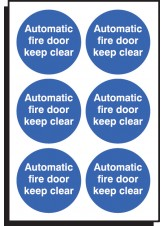 6 x Auto Fire Door Keep Clear Labels - 65mm Diameter