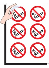 6 x No Smoking Labels - 75mm Diameter