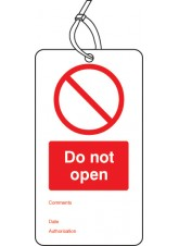 Do Not Open - Double Sided Safety Tag (Pack of 10)