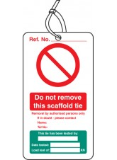 Scaffold Tie Test - Double Sided Safety  Tag (Pack of 10)