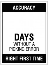 """Small Wipe Clean Board """"Accuracy (Write Number) Days without a Picking Error"""""""
