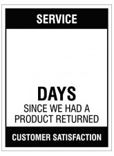 Service … Days since a product return, 300x400mm rigid PVC with wipe clean over laminate