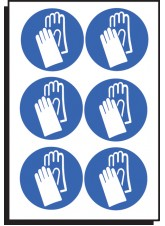 6 x Hand Protection Symbol - 100mm Diameter