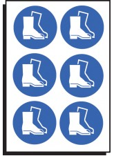 6 x Safety Boots Symbol -100mm Diameter