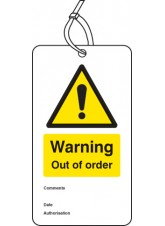 Warning Out of Order - Double Sided Safety  Tag (Pack of 10)