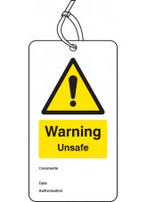 Warning Unsafe - Double Sided Safety  Tag (Pack of 10)