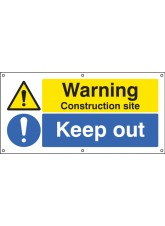 Warning Construction Site Keep Out - Banner with Eyelets