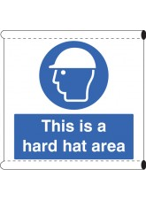 Scaffold Banner - This Is a Hard Hat Area (with Loops)