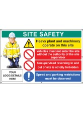 Site Safety, Heavy Plant, Vehicle Access, Reversing, Speed, Custom - Banner with Eyelets - 1270 x 810mm