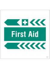 First Aid, Arrow Left - Site Saver Sign - 400 x 400mm