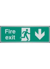 Fire Exit Arrow Down - Aluminium - 300 x 100mm