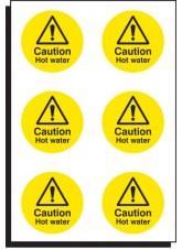 6 x Caution Hot Water - 65mm Diameter