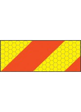 ECE70 Vehicle Marking Plate - Left Hand Horizontal Chevron - 300 x 140mm