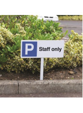 Parking Staff Only - White Powder Coated Aluminium - 450 x 150mm (800mm Post)