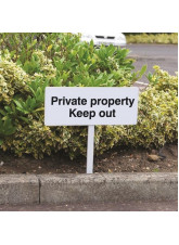 Private Property Keep Out - White Powder Coated Aluminium - 450 x 150mm (800mm Post)