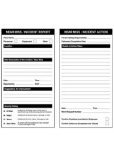 Near miss double sided report/action safety tags