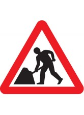 Fold Up Sign - Men At Work with Text Variant - 600mm Triangle