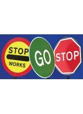 Stop Works Lollipop Sign 450mm Dia, 1500mm Pole