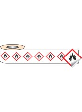 250 x GHS Labels - Flammable - 50 x 50mm