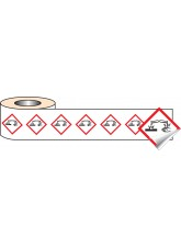 250 x GHS Labels - Corrosive - 50 x 50mm