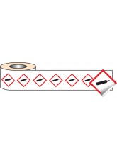 250 x GHS Labels - Compressed Gas - 100 x 100mm