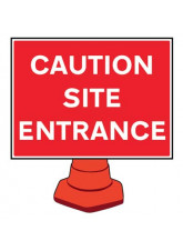 Reflective Cone Sign - Caution site entrance