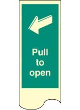 Door Plate - Pull to Open - Photoluminescent Rigid PVC