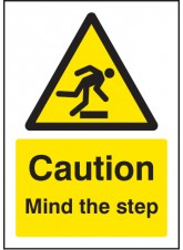 A5 Caution Mind the Step - Self Adhesive Vinyl - 148 x 210mm