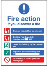 A5 Fire Action - Self Adhesive Vinyl - 148 x 210mm