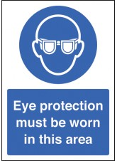 A4 Eye Protection Must Be Worn - Self Adhesive Vinyl - 210 x 297mm