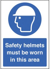 A4 Safety Helmet Must Be Worn - Self Adhesive Vinyl - 210 x 297mm