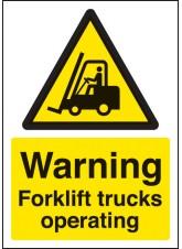 A4 Warning Forklift Trucks Operating - Self Adhesive Vinyl - 210 x 297mm