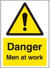 A4 Danger Men At Work - Self Adhesive Vinyl - 210 x 297mm