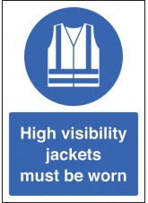 A4 High Visibility Jackets Must Be Worn - Self Adhesive Vinyl - 210 x 297mm
