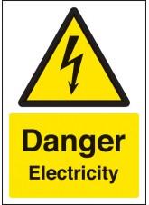 A4 Danger Electricity - Self Adhesive Vinyl - 210 x 297mm