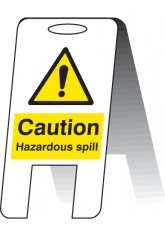 Caution Hazardous Spill - Self Standing Folding Sign