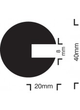 Impact Protection - Semi-circular 40/40/8 - Push on