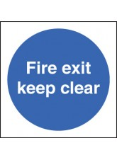 Fire Exit Keep Clear Double Sided Self Adhesive 100 x 100mm