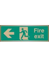 Fire Exit Arrow Left - Brass