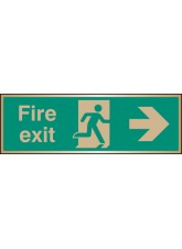 Fire Exit Arrow Right - Brass