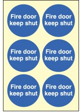 6 x Fire Door Keep Shut Photoluminescent Labels - 65mm Diameter