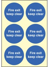6 x Fire Exit Keep Clear Photoluminescent Labels - 65mm Diameter